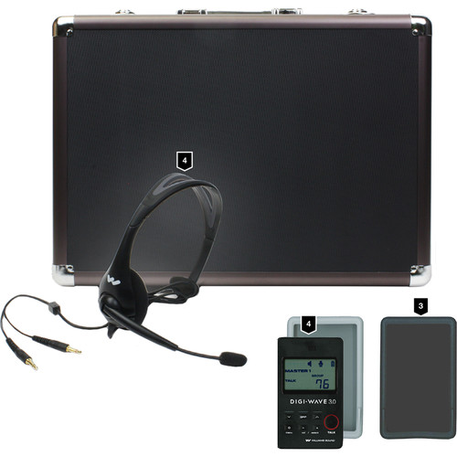 Williams Sound DW 300 Wireless Intercom:4-DLT300 Transceiver/4-Mic 044 2P Headset Mic/1-CCS 029 DW System CarryCase