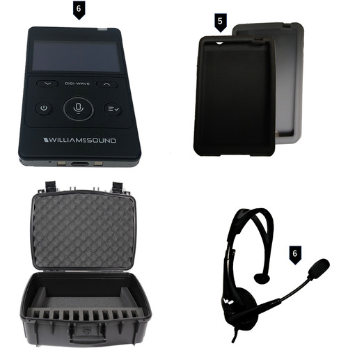Williams Sound Digi-Wave 400 Series Intercom System for 6 Participants with 6-DLT 400,6-Mic 144 Headset,Case