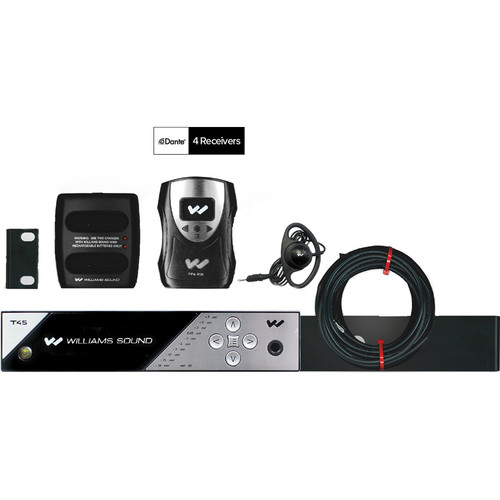 Williams Sound FM 458 NET D PRO Personal PA FM Assistive Listening System with Network Control and Dante Input (4 Receivers)
