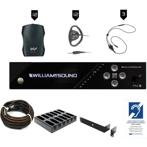 Williams Sound FM Plus Large-Area Dual FM/Wi-Fi Assist Listen Syst:12 FM R37 R:Dante In,Coax Cable,Rack Panel Kit