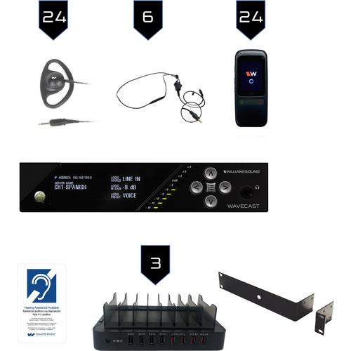 Williams Sound Wi-Fi Assist Listen Syst 24/Dante In/WF T5 D/24 WF R1N/24 CCS 062/3-CHG 408 WF8