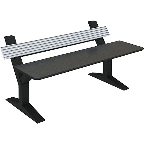 """Winsted EnVision Single Tier with 7.5"""" Slat-Wall Command Console (Black/Silver, 84"""")"""