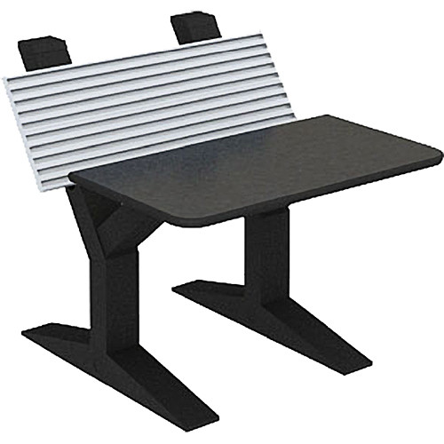 """Winsted EnVision Single Tier with 15"""" Slat-Wall Command Console (Black/Silver, 42"""")"""