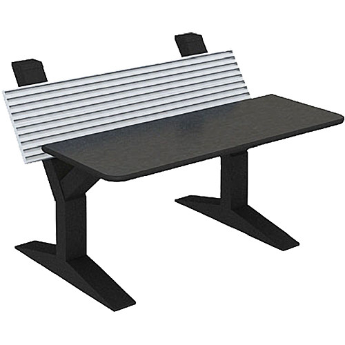 """Winsted EnVision Single Tier with 15"""" Slat-Wall Command Console (Black/Silver, 60"""")"""
