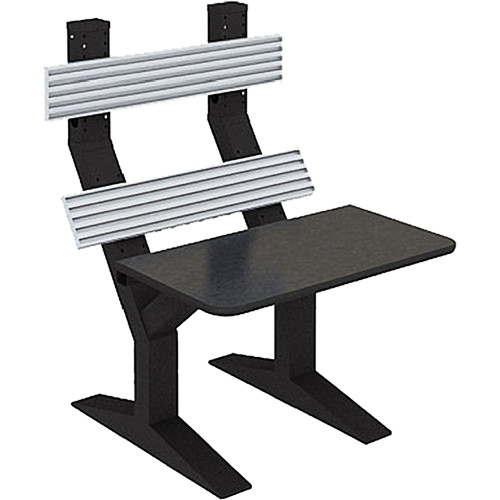 """Winsted EnVision Double Tier with 7.5"""" Slat-Wall Command Console (Black/Silver, 42"""")"""