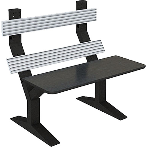 """Winsted EnVision Double Tier with 7.5"""" Slat-Wall Command Console (Black/Silver, 60"""")"""