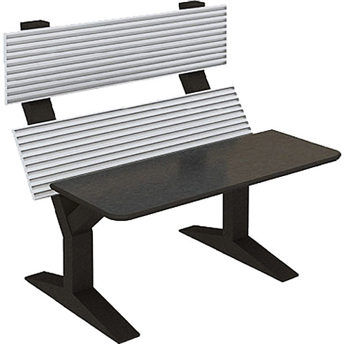 """Winsted EnVision Double Tier with 15"""" Slat-Wall Command Console (Black/Silver, 60"""")"""