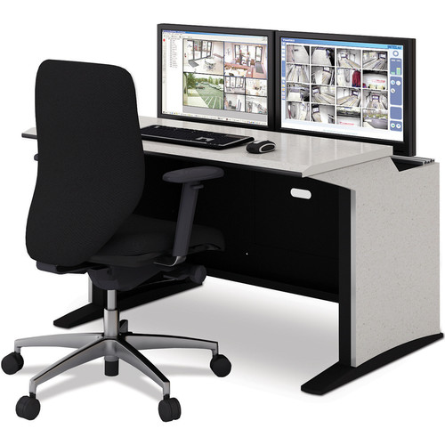 """Winsted E-SOC Control Station with Articulating Monitor Mounts (48"""", Black)"""