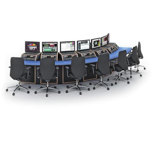 Winsted Seven-Bay Spectrum Convex Console (Black Base, Banister Oak Top)