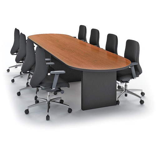 "Winsted Racetrack Conference Room Table (42 x 156"", Black Base, Banister Oak Top)"