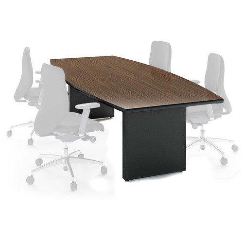 "Winsted Boat-Shaped Conference Room Table (48 x 108"", Black Base, Banister Oak Top)"