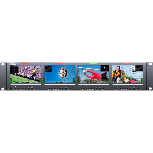 """Wohler RM-2443WS-3G2 Quad 4.3"""" LCD Rack Mount 3G-SDI Monitor with Dual Inputs"""