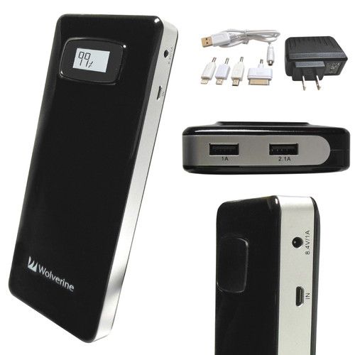 Wolverine Data Colossal 18,200mAh Dual USB Travel Battery Charger (Black)