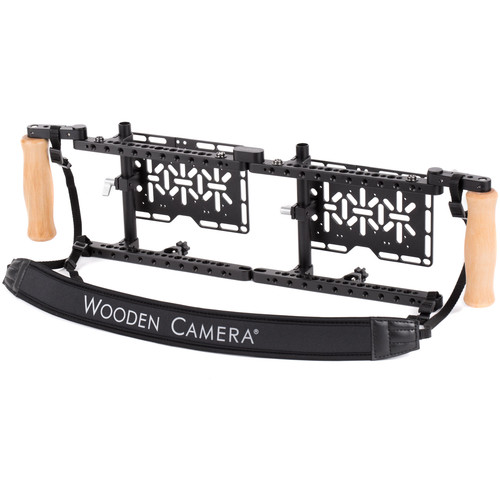 Wooden Camera Dual Director's Monitor Cage v2 with Wooden Grips