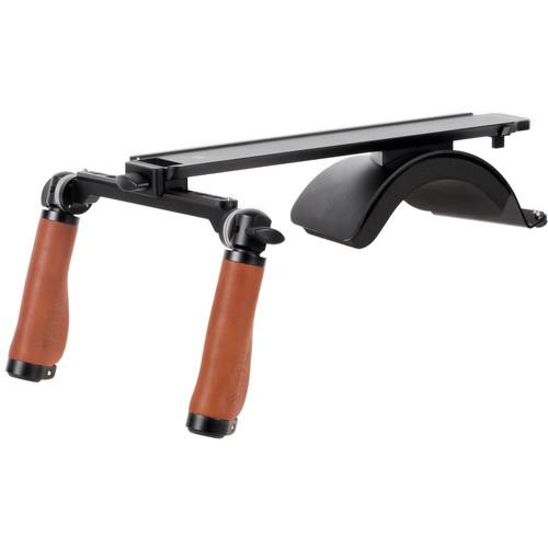 Wooden Camera Base Shoulder Rig v3 (Leather Handles)