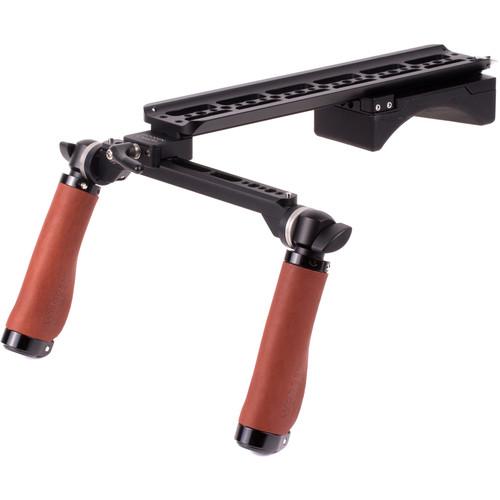 Wooden Camera Shoulder Rig v2 Base with Rosette Handles (Brown Leather)