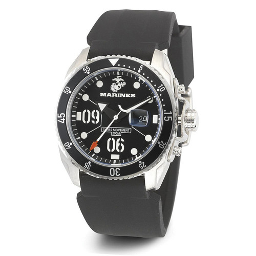 WRIST ARMOR Men's C5 Series Marine Corps Wristwatch with Black Silicone Strap (Black/White)