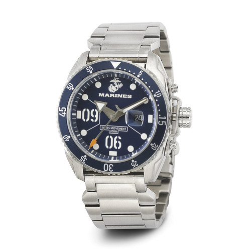 WRIST ARMOR Men's C5 Series Marine Corps Wristwatch with Stainless Steel Band (Blue/White)