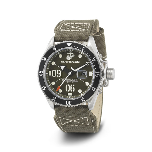 WRIST ARMOR Men's C5 Series Marine Corps Wristwatch with OD Green Canvas Strap (OD/White)