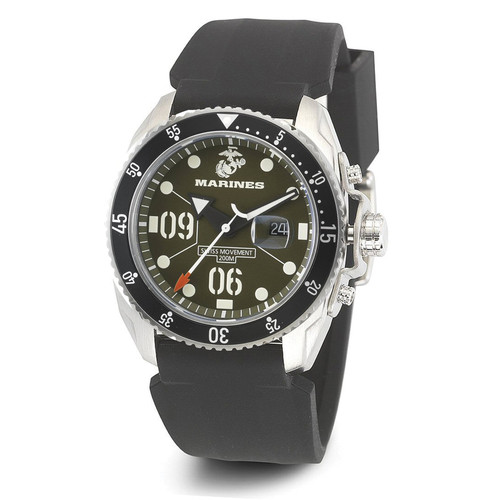WRIST ARMOR Men's C5 Series Marine Corps Wristwatch with Black Silicone Strap (OD/White)