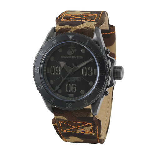 WRIST ARMOR Men's C5 Series Marine Corps Wristwatch with Camo Canvas Strap (Black/Black)