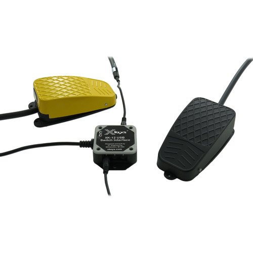 X-keys USB Twelve-Switch Interface with Footswitch Bundle (Black and Yellow Commercial)