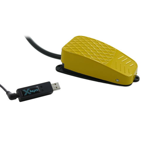 X-keys USB 3 Switch Interface with Yellow Commercial Foot Switch