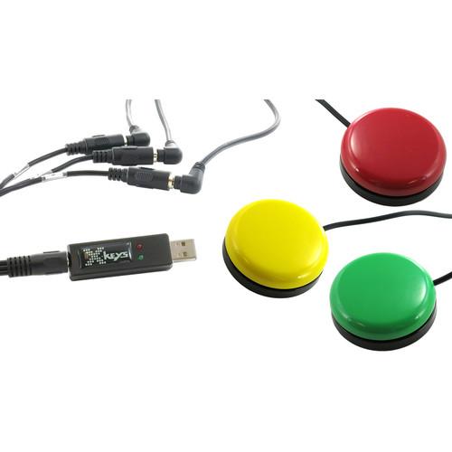 X-keys XK-1443-OYRG-BU USB 3-Switch Interface Bundle with 3 Orby Switches & TRRS 3-Way Splitter Cord