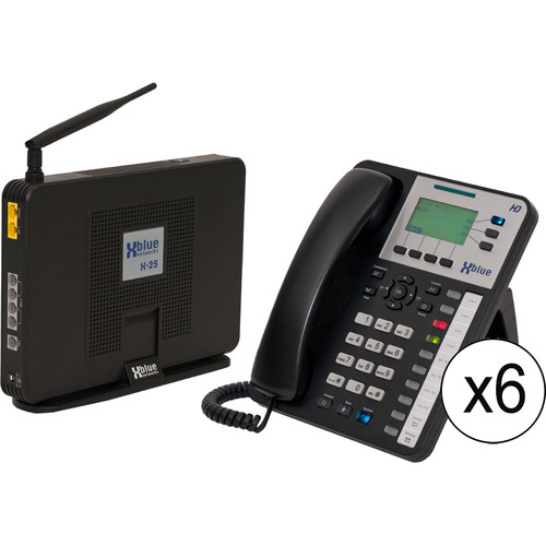 XBLUE Networks X-25 System Bundle with Six X3030 VoIP Phones