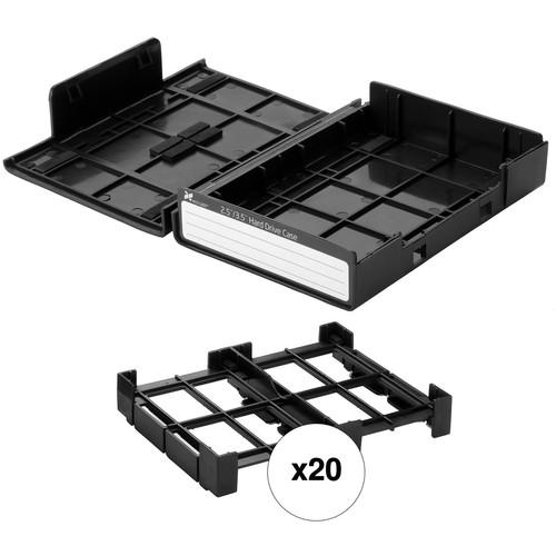 """Xcellon 3.5"""" / 2.5"""" Hard Drive Case Kit (20-Pack, Black)"""