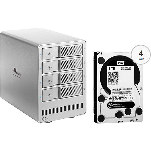 Xcellon DRD-401 4TB (4 x 1TB) Four-Bay HDD Enclosure with Drives
