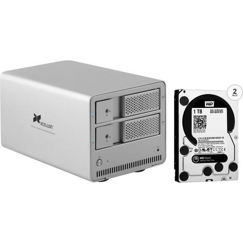 Xcellon DRD-101 2TB (2 x 1TB) Dual-Bay Enclosure Kit with Drives