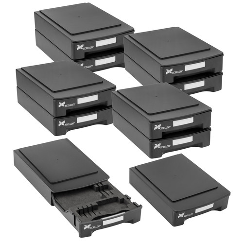 Xcellon Stackable Hard Drive Case with Media Organizer Kit (10-Pack)