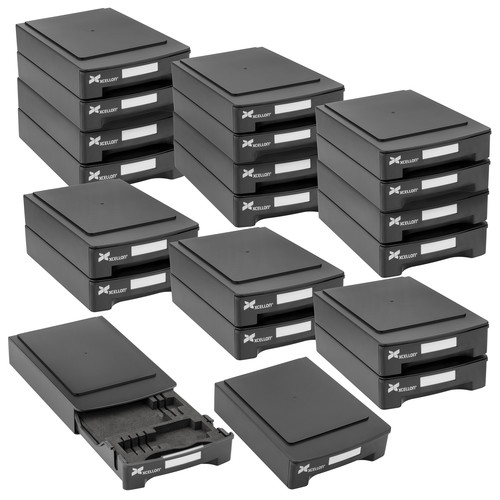 Xcellon Stackable Hard Drive Case with Media Organizer Kit (20-Pack)