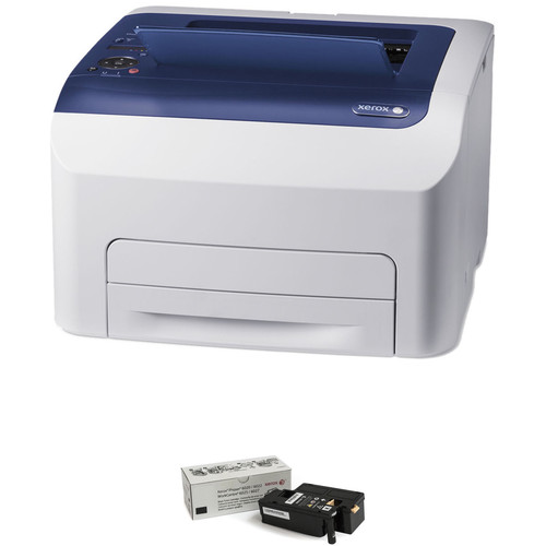 Xerox Phaser 6022 Color LED Printer with Extra Black Toner Cartridge Kit
