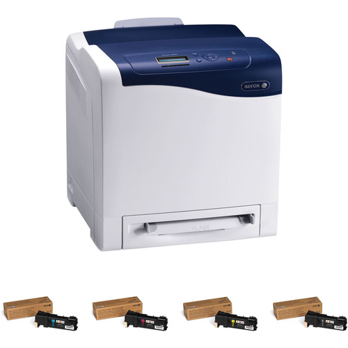 Xerox Phaser 6500/N Network Color Laser Printer with Extra Set of High-Yield Toner Cartridges
