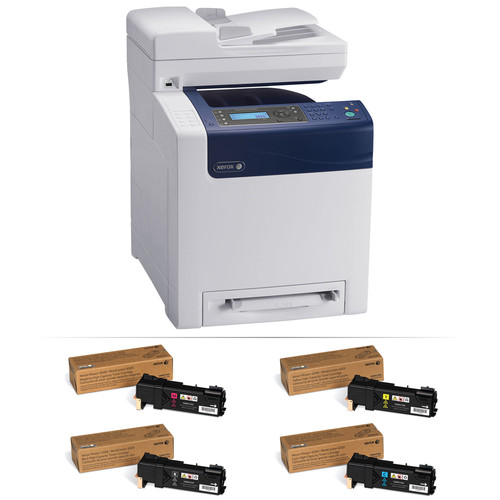 Xerox Phaser 6505/DN Network All-in-One Color Laser Printer with Extra Set of High-Yield Toner Cartridges