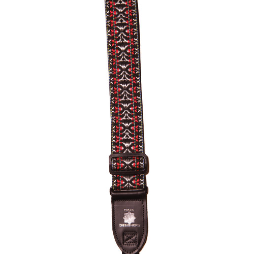 """XP PhotoGear Woven Gear Designer Strap with Leather Ends for DSLR Camera with Lens (Silver and Red, 56"""" Long, 2"""" Wide)"""