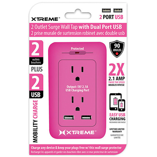 Xtreme Cables 2-Outlet Surge Wall Tap with Dual USB Ports (Pink)