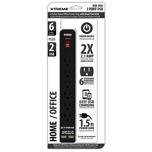 Xtreme Cables Home/Office Power Strip with Dual Port USB (Black)
