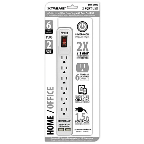 Xtreme Cables Home/Office Power Strip with Dual Port USB (White)