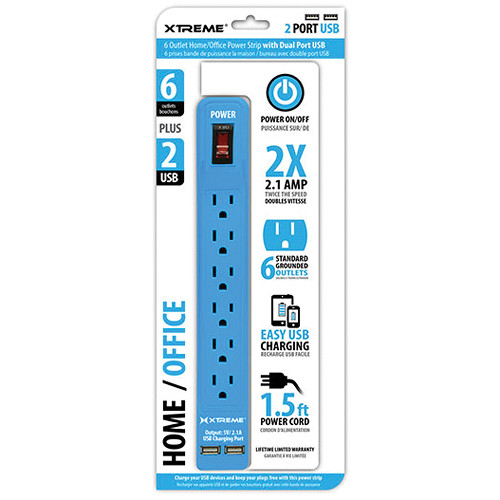 Xtreme Cables Home/Office Power Strip with Dual Port USB (Blue)