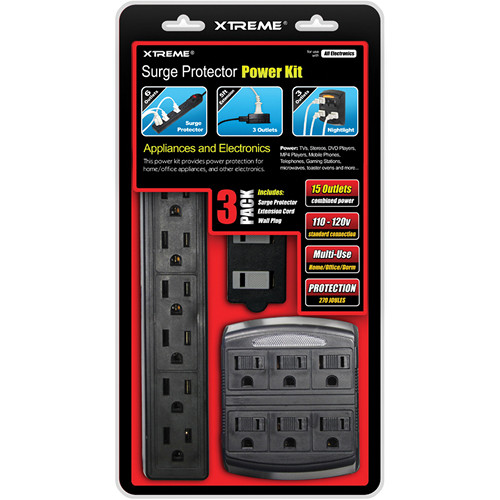 Xtreme Cables 3-Piece Home Surge Protector Power Kit (15 Outlet Combined Power)