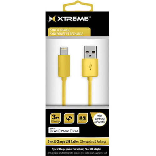Xtreme Cables 3' USB to 8-Pin Lightning Flat Tangle Free Cable (Gold)