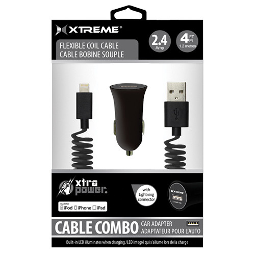 Xtreme Cables Car Charger with Lightning Cable (4', Black)