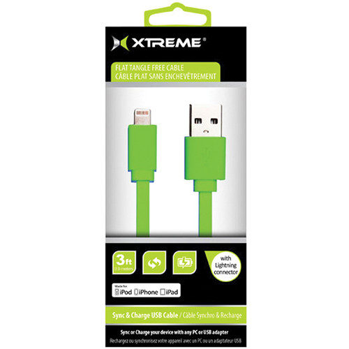 Xtreme Cables 3' USB to 8-Pin Lightning Flat Tangle Free Cable (Green)