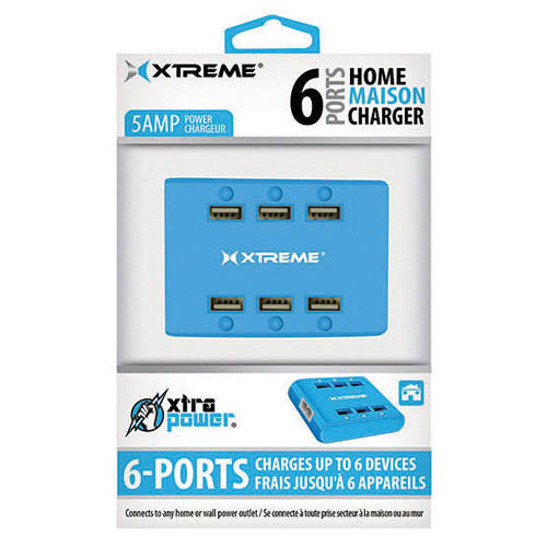 Xtreme Cables 6-Port USB Charger (Blue)