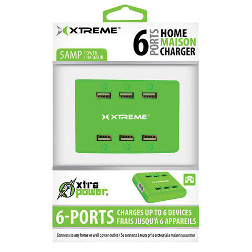 Xtreme Cables 6-Port USB Charger (Green)