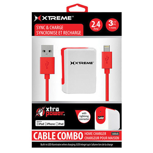 Xtreme Cables 2.4 Amp Home Charger with 8-pin Cable, 3' (Red)