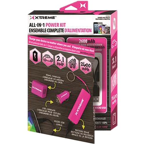 "Xtreme Cables All-in-1 Wall / Car Power Charging Kit with 8"" Micro-USB Cable (Pink)"